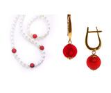 Комплект Giorno e Notte бело-красный (серьги на серебре, ожерелье, браслет)