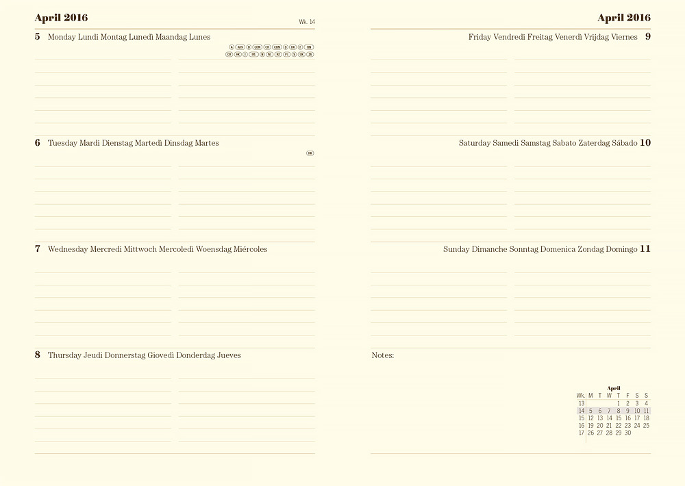 Еженедельник Letts Baroque 2016, A5 (148 х 210), коричневый, иск.кожа, срез кремовый