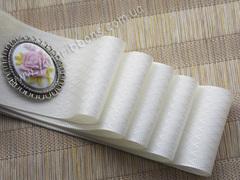 Лента атласная Молочные фактурные ромбы ширина 38 мм (намотка 10 м)