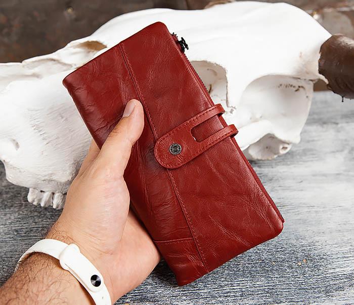 WL299-3 Мужской клатч из красной мятой кожи фото 10