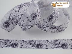 Лента репсовая Черно-белые цветы 22 мм (намотка 10 м)