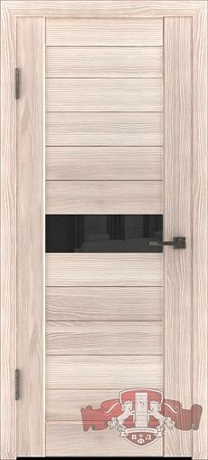 Л4ПГ1 Капучино / черное стекло, Дверь межкомнатная,Владимирская Фабрика Дверей