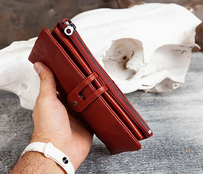 WL299-3 Мужской клатч из красной мятой кожи фото 11