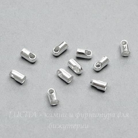 Концевик для шнура 1,5 мм (цвет - серебро) 4х2 мм, 10 штук