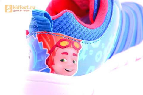 Светящиеся кроссовки для мальчиков Фиксики на липучках, цвет Синий, мигает пряжка на липучке, 5916D. Изображение 17 из 18.