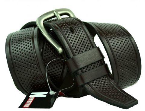 Мужской джинсовый тёмно-коричневый ремень 40 мм из мягкой натуральной кожи с надёжной пряжкой 40NS-028