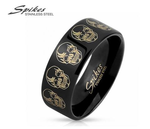 Мужское кольцо черного цвета из стали с черепами. «Spikes»