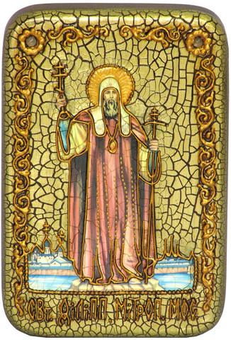 Инкрустированная икона Святитель Филипп, митрополит Московский 15х10см на натуральном дереве, в подарочной коробке