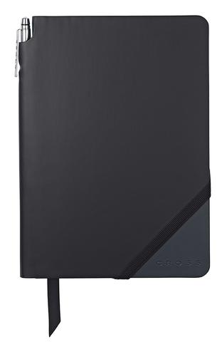 Записная книжка Cross Jot Zone, A5, 160 страниц в линейку, ручка в комплекте. Цвет - черно-т.си