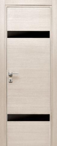 Дверь Дубрава Сибирь Титан 2, стекло чёрное лакобель, цвет лиственница, остекленная