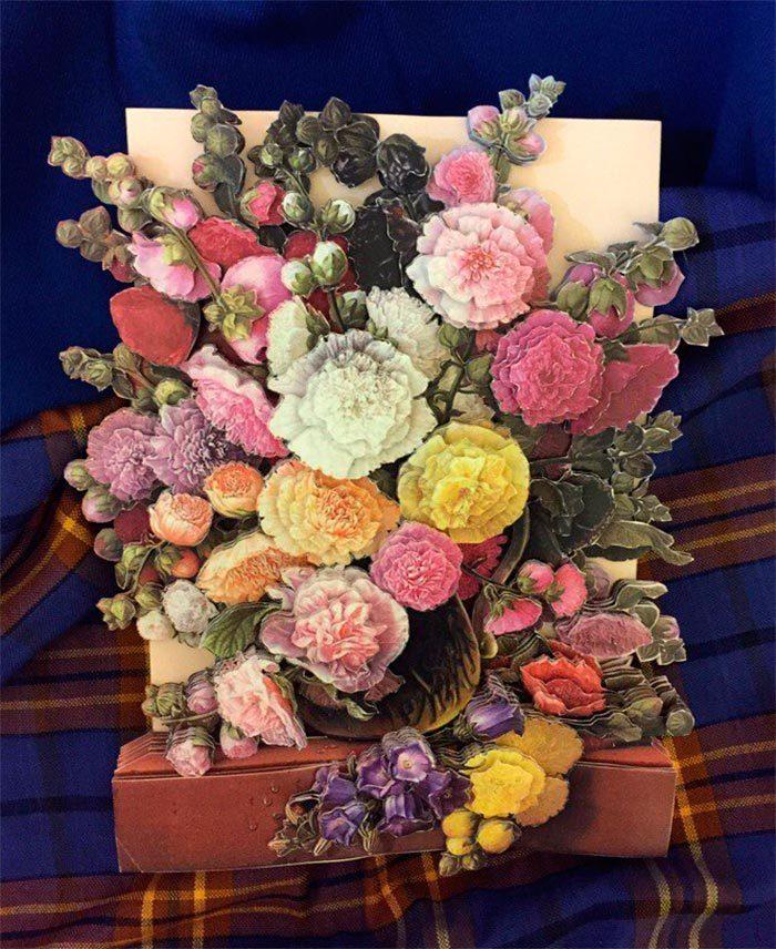 Папертоль Цветы у окна — пример готовой работы.