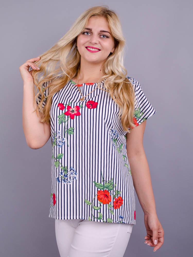 Гала. Повсякдненна блуза плюс сайз. Квітка дрібна.