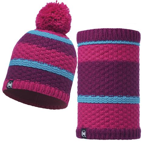 Комплект шапка шарф вязаный с флисом Buff Fizz Pink Honeysuckle