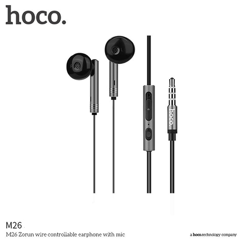 Наушники Hoco M26 Zorun Series Wire Control Earphone Черный