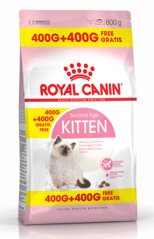 ПРОМО! Royal Canin Kitten сухой корм для котят от 4 до 12 месяцев и беременных кошек 400+400г