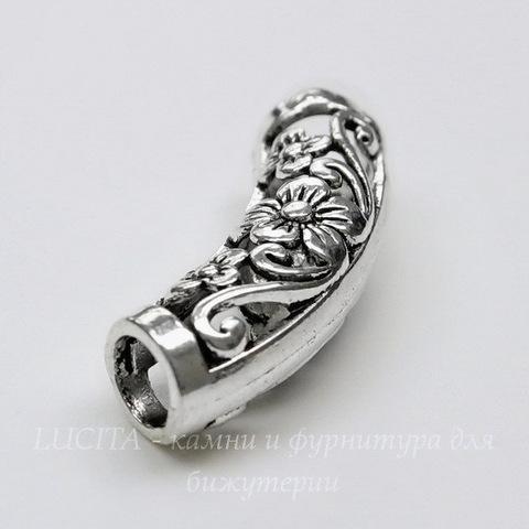 """Разделитель - трубочка """"Цветы"""" (цвет - античное серебро) 25х9 мм"""