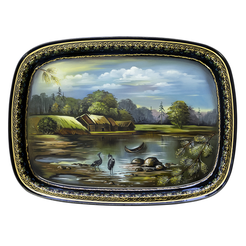 "Unique zhostovo metal tray ""Landscape"" by Natalia Frolova A12-390P"