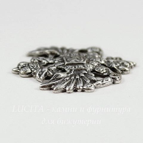 """Винтажный декоративный элемент - штамп """"Двуглавый орел"""" 25х22 мм (оксид серебра)"""