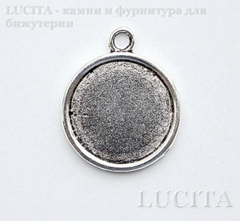 Сеттинг - основа - подвеска 28х24 мм для камеи или кабошона 20 мм (цвет - античное серебро)