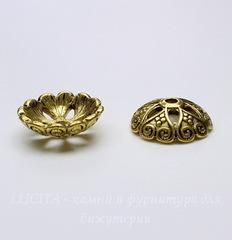 Шапочка для бусины 20х6 мм (цвет - античное золото)