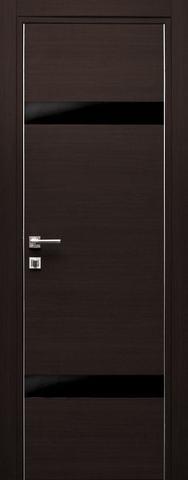 Дверь Дубрава Сибирь Титан 2, стекло чёрное лакобель, цвет орех тёмный поперечный, остекленная