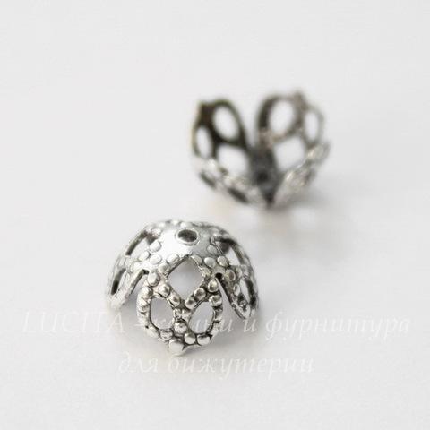 Винтажный декоративный элемент - шапочка филигранная 8х4 мм (оксид серебра)