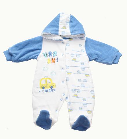 QUE KIDS Комбинезон для малышей велюровый внутри евромахра синий