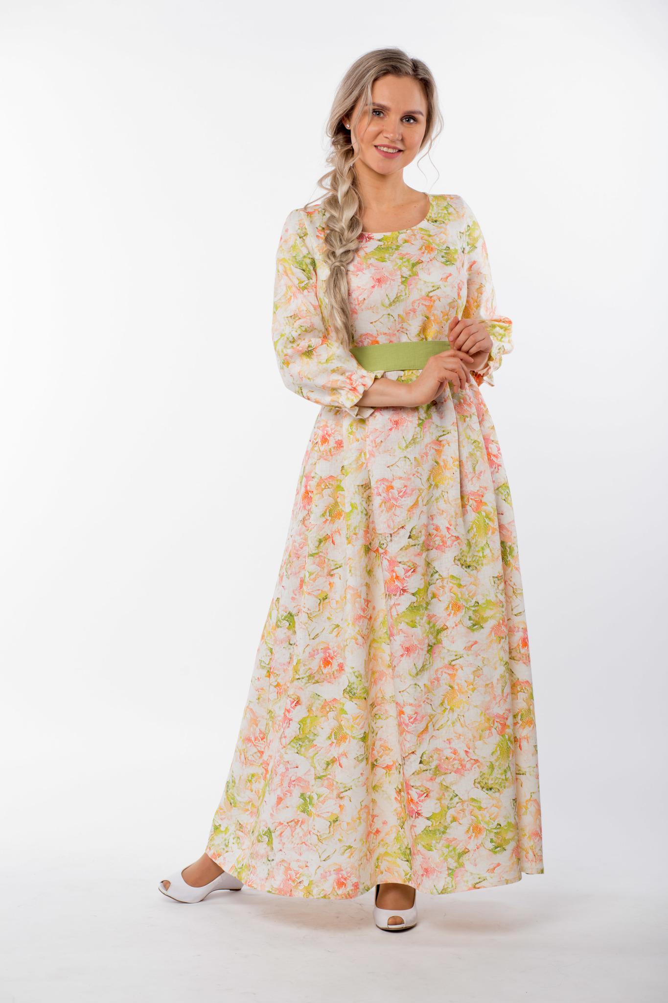Платье льняное Цветущий шиповник с поясом