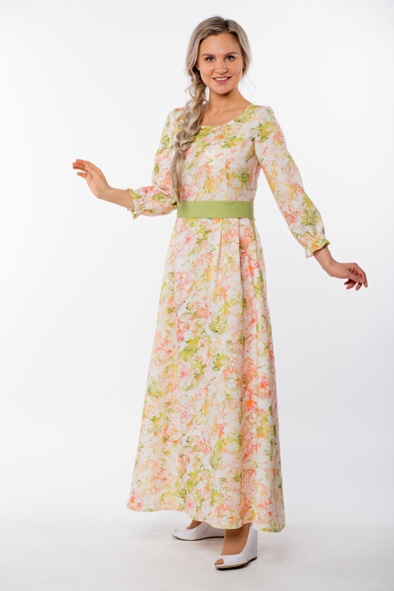 Платье льняное Цветущий шиповник вид сбоку