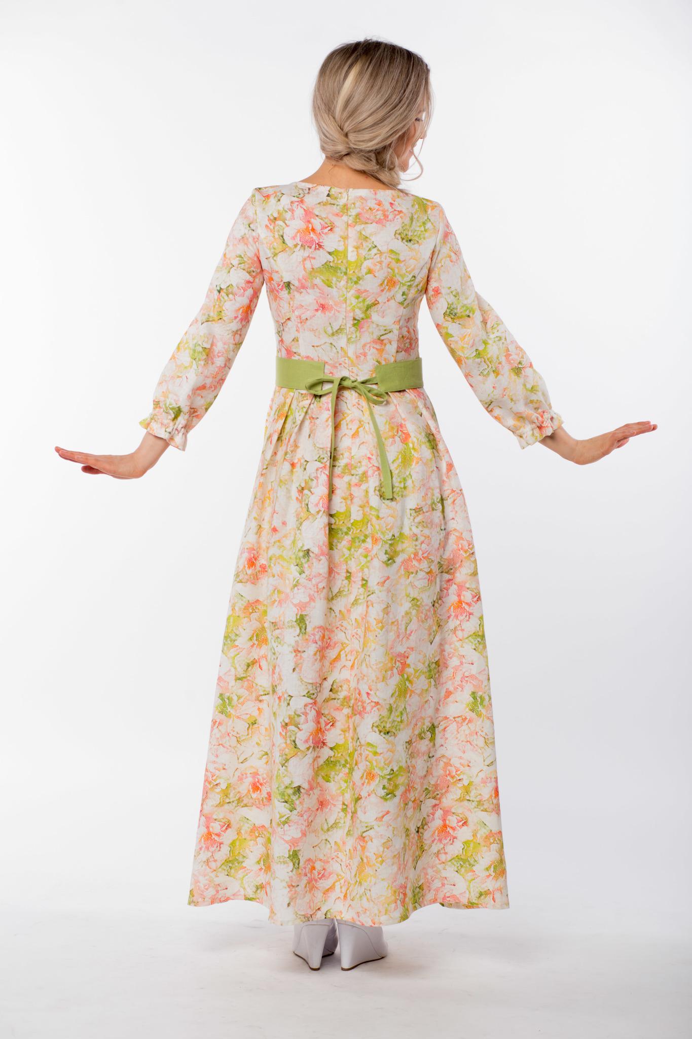 Платье льняное Цветущий шиповник вид сзади