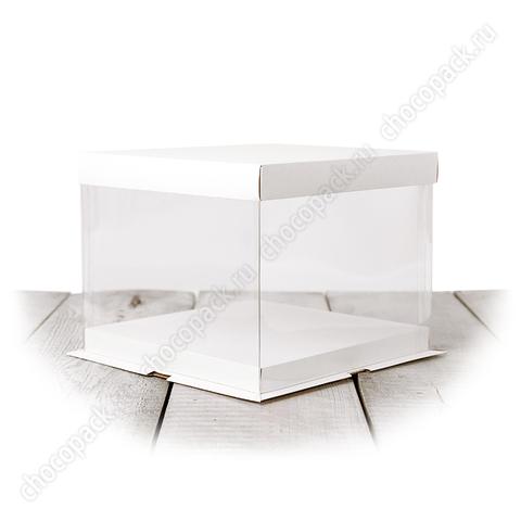 Короб с прозрачными стенками 21 х 21 х 17 см для тортов до 3 кг