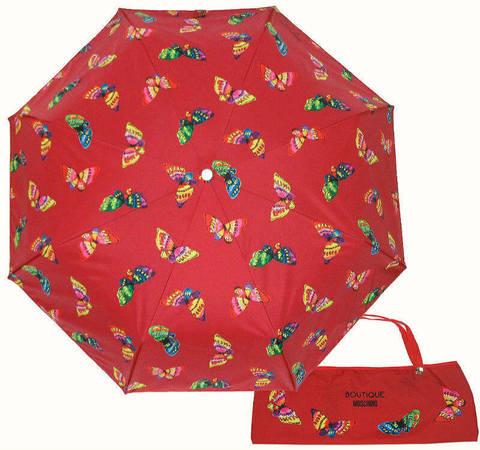 Купить онлайн Зонт складной Moschino 7078-С Butterflies rosso в магазине Зонтофф.