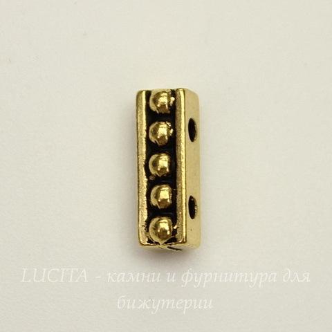 """Разделитель на 2 нити TierraCast """"Бусинки"""" (цвет-античное золото) 11х4 мм"""