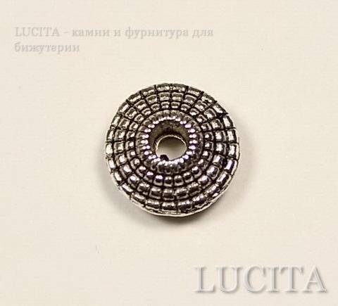 Бусина металлическая - рондель (цвет - античное серебро) 8х3 мм, 10 штук