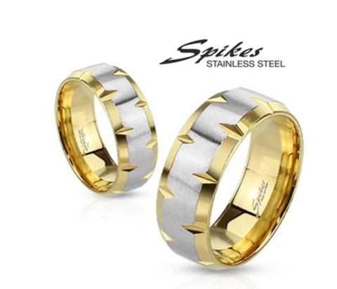 Широкое кольцо золотистого цвета с серебристой серединой