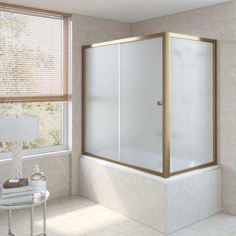 Шторка на ванну Vegas Glass ZV+ZVF профиль бронза, стекло сатин