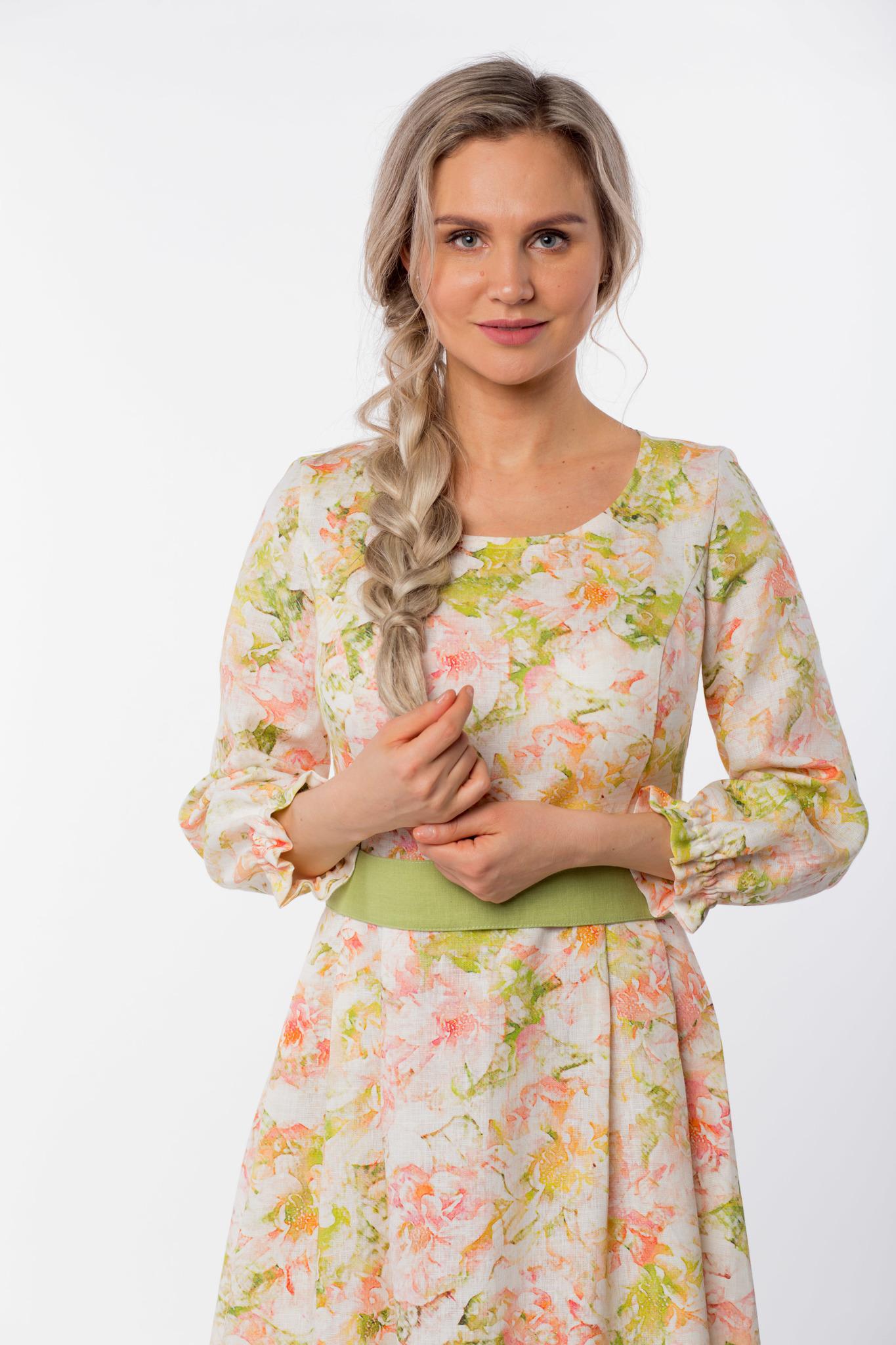 Платье льняное Цветущий шиповник приближенный фрагмент