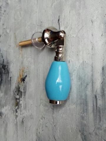Ручка мебельная керамическая голубая