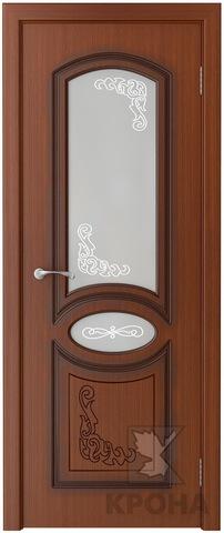 Дверь Крона Муза, стекло матовое с рисунком, цвет макоре, остекленная