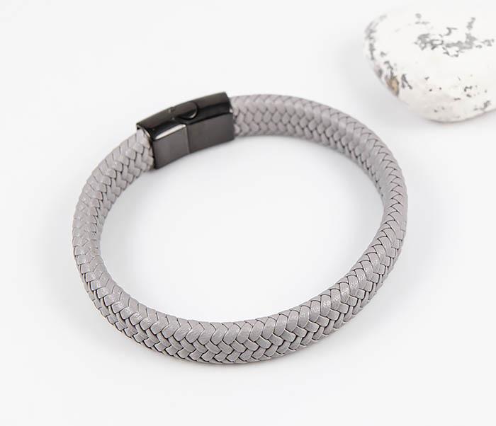 BM531-4 Серый мужской браслет из плетеной кожи фото 02