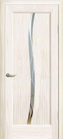 Дверь Океан Новая волна Z, стекло белое, цвет ясень белый жемчуг, остекленная