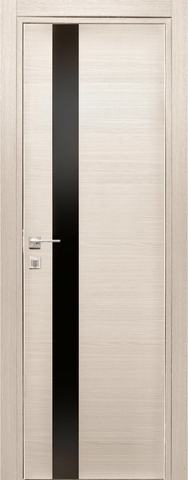 Дверь Дубрава Сибирь Титан 3, стекло чёрное лакобель, цвет лиственница, остекленная
