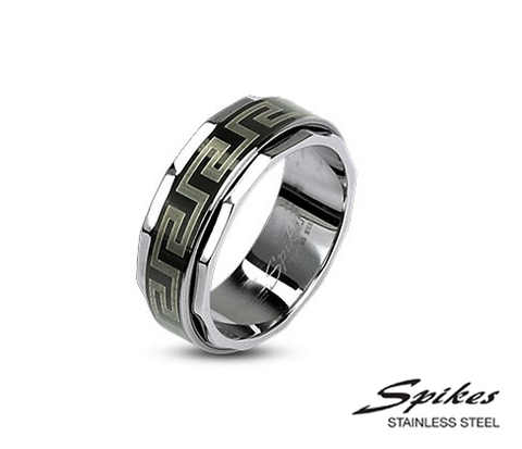 Мужское кольцо «Spikes» из стали с орнаментом