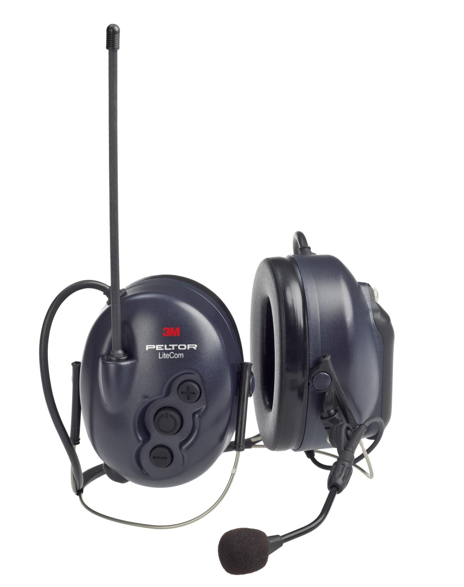 Активные наушники LiteCom, микрофон на жёсткой штанге, затылочное оголовье, тёмно-синие чашки