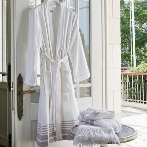 Элитный халат хлопковый Marine Striped белый с синим от Hamam