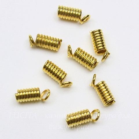 Пружинка для шнура 2 мм (цвет - золото) 9х3,5 мм, 10 штук