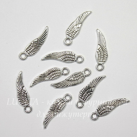"""Подвеска """"Крыло"""" 18х5 мм (цвет - античное серебро), 10 штук"""