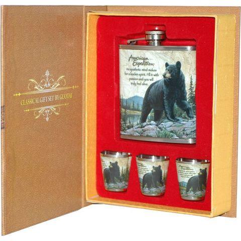 Набор: А03 Медведь фляжка плюс 3 стопки 210мл