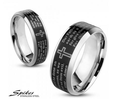 Мужское кольцо «Spikes» из ювелирной стали с молитвой «Отче Наш» на черном фоне