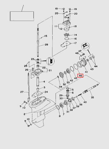 Кольцо большое стакана редуктора  для лодочного мотора T15, OTH 9,9 SEA-PRO (16-46)